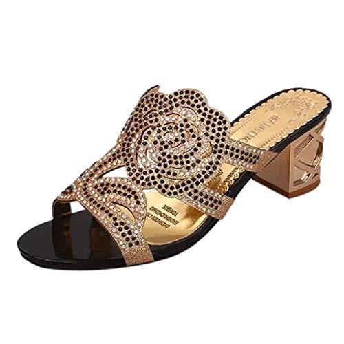 Donna Eleganti Pantofole Casual Con Punta Donne Fiore Sandali Nero All'aperto Scarpe Zeppa Strass Meibax Da Estate Spiaggia A wRxCq4