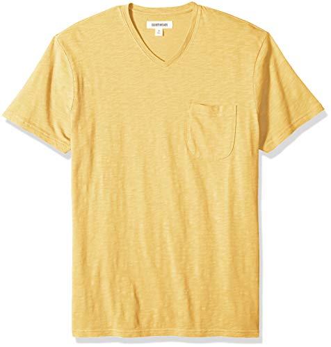 (Goodthreads Men's Lightweight Slub V-Neck Pocket T-Shirt, -gold, Small)