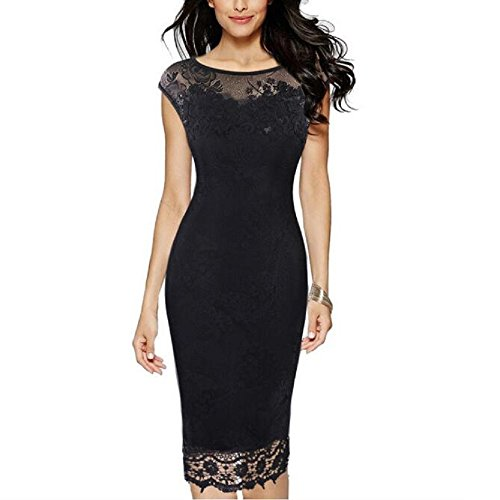 Floral Evening Lace Party Black Women's Dress Vintage Sweetrainbow Tight BqAEZx