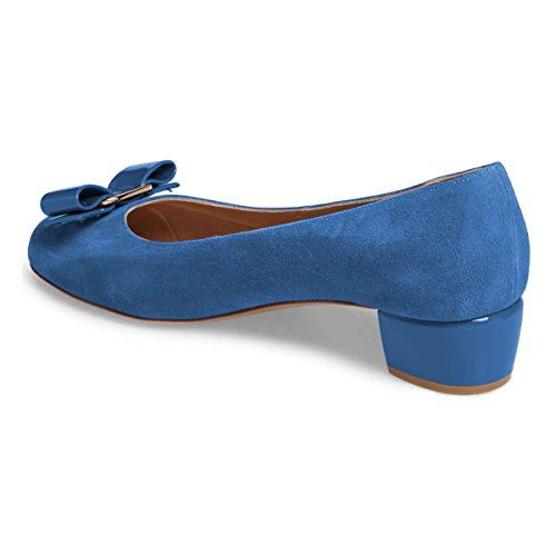 Fsj Mujeres Bloque Punta Redonda De Tacón Bajo Las Bombas Cómodos Del Bowknot Se Deslizan En Los Zapatos Del Vestido Formal Oficina Superficie 4-15 Nos Azul ¿Cuánto Venta? F2UCf3