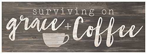P. Graham Dunn Surviving on Grace Coffee Rustic Grey 10 x 3.5 Inch Wood Slat Easelback Tabletop Sign