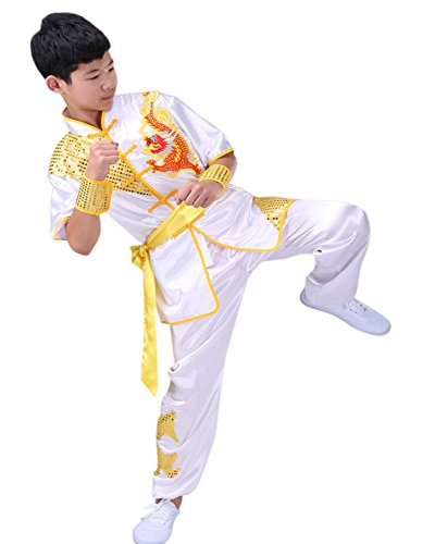 (CRB Fashion Mens Boys Childrens Kids Kung Fu Master Tai Chi Dragon Chinese Uniform Outfit Costume Top Shirt Pants Set (Height 140cm, White))