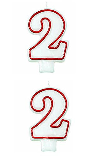 Classic Red Border Flat Molded Number 2 Celebration Candle, White , 3 (Value (Numbers Border)
