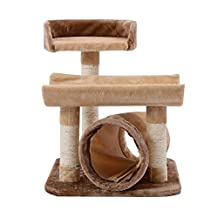 PawHut 29 -Inch Scratching Cat Tree Post Pet Furniture with Tunnel, Brown