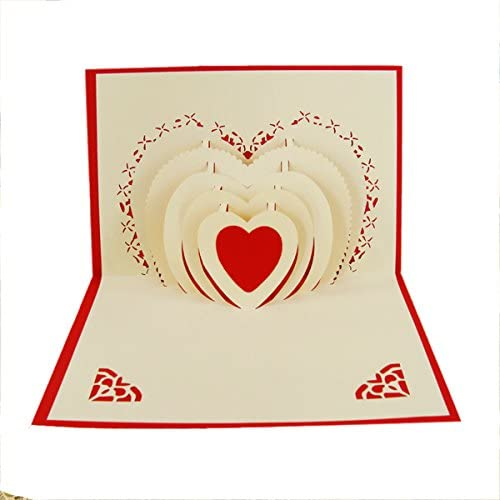 Qubie POP UP Customized Greeting Words Creative Wedding Invitations Valentine's Day Gift Paper Card (Heart) Sales