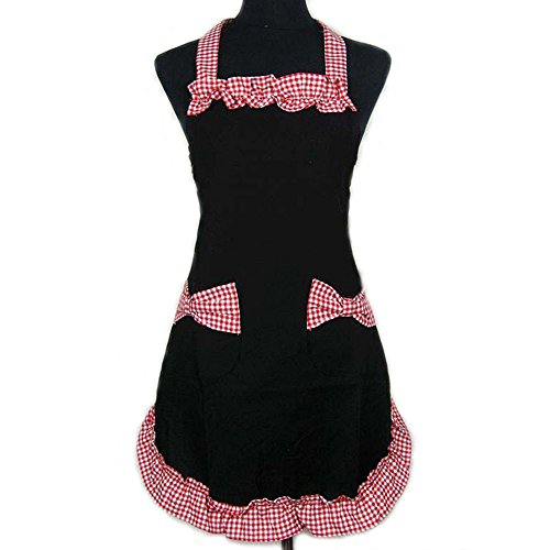 Monkeysell Adjustable Women's Kitchen Lace Work Aprons with Bowknot Pockets Home Shop Cooking Tools Aking (Halloween Cupcake Recipes For Kids)