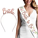 Bride To Be Gift Set - Floral Water Color Rose Gold Bride To Be White Satin Sash & Rose Gold Bride Headband GSet(WC B2B & HB RsGld) WHT