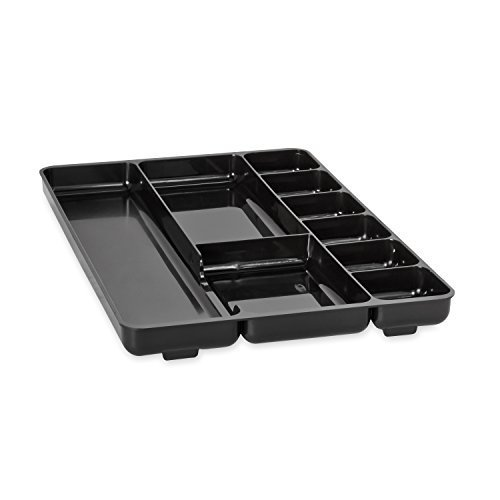 Rubbermaid Regeneration 9-Section Drawer Organizer, Plastic, 14 x 9.125 x 1.125 Inches, Black (45706) (6-Pack)