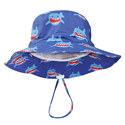 BQUBO Baby Sun Hat Toddler Sun Protection Animal Cap Unisex Summer Bucket Hat with Chin Strap UPF 50+ (Disonar Blue, 12-24 Month)