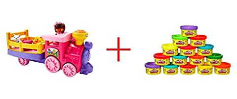 Fisher-Price Little People Musical Zoo Train AND Play-Doh 15 Count Party Bag - Bundle (Playdoh People)