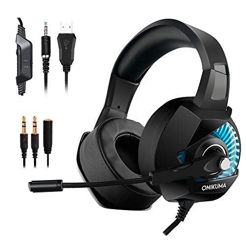Gaming Headset for Nintendo Switch, PS4, Xbox One,PC, Laptop, Computer, Mac, 3.5mm Jack RGB Light Surround Stereo Sound Noise Isolating Over Ear Soft Earmuf Easy Volume Control