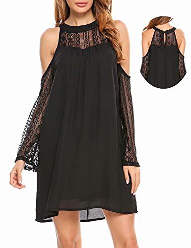 ACEVOG Women's Cold Shoulder Lace Chiffon Mini Patchwork Loose Casual Dress, Balck, X-Large - Patchwork Chiffon Dress