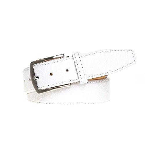 White Italian Pebble Leather Belt by Roger Ximenez: Bespoke Maker of Fine Leather Goods