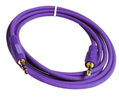Importer520 6 Feet Mini 3.5mm Plug Male to Male Stereo Auxiliary Aux Cord Cable for iPhone 5 4S 4 3GS iPod Touch Samsung Galaxy S4 S3 S2 Nokia Lumia 920 HTC OneX EVO 4G Rhyme DROID RAZR MAXX Google Nexus LG Optimus G BlackBerry Z10 Torch Compact Size GPS - Purple