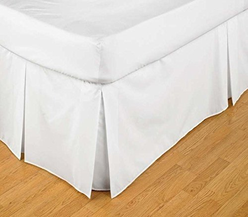 RAYYAN LINEN PERCALE 100% EGYPTIAN COTTON WHITE COLOR PLATFORM BASE PLEATED VALANCE SHEET IN SUPER KING SIZE | 200TC THREAD COUNTS RL