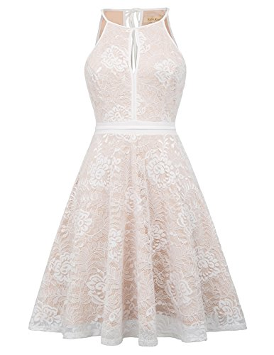 Women Sleeveless Halter Lace Dress Knee Length Beige S (Halter Knee Length Dress)
