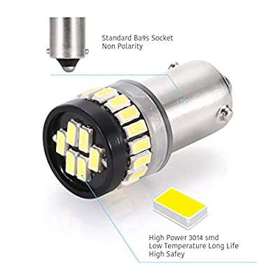 LUYED 5 x Super Bright 3014 24-EX Chipsets BAX9s H6W 64132 38161 LED Bulbs Used For Parking Reading Bulbs: Automotive
