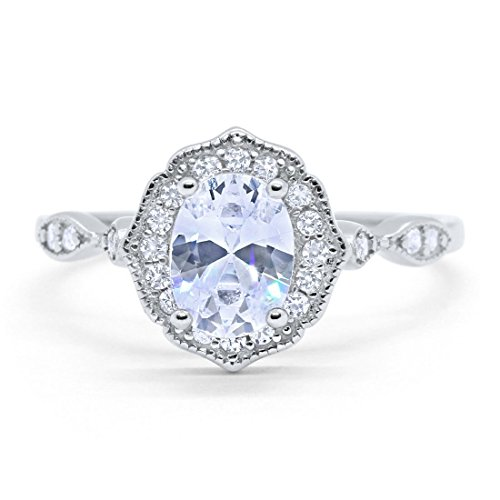 Blue Apple Co. Art Deco Antique Style Wedding Engagement Ring Oval Round Simulated Cubic Zirconia 925 Sterling Silver, Size - 8 (Antique Ring Oval)