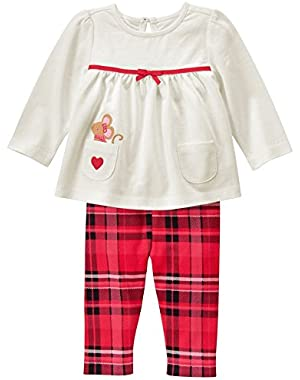 Baby White and Plaid Set