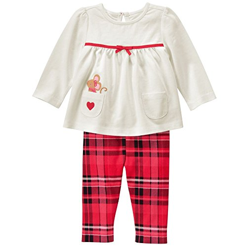 Gymboree Baby White and Plaid Set, Red Zone, 3-6