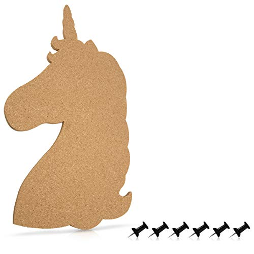 (Navaris Cork Board Bulletin Board - Unicorn Design 10 x 16 in, Includes 6 Pins - Message Noticeboard Memo Shape Display Pinboard for Home or Bedroom)