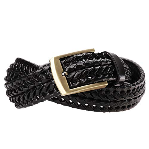 Tanpie Men's Braided Belt Leather Woven Fashion Strap for Jeans L Black]()