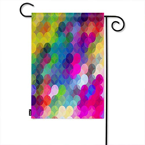 Moslion Polka Dot Garden Flag Rainbow Color Dot Spots Circles Mosaic Plaid Gingham Home Flags 12x18 Inch Double-Sided Banner Welcome Yard Flag Outdoor Decor. Lawn Villa