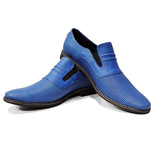 PeppeShoes Modello Slipblue - Handmade Italiennes Cuir Pour des Hommes Bleu Mocassins et Glissades Flâneurs - Cuir de Vachette Cuir Souple - Glisser Sur