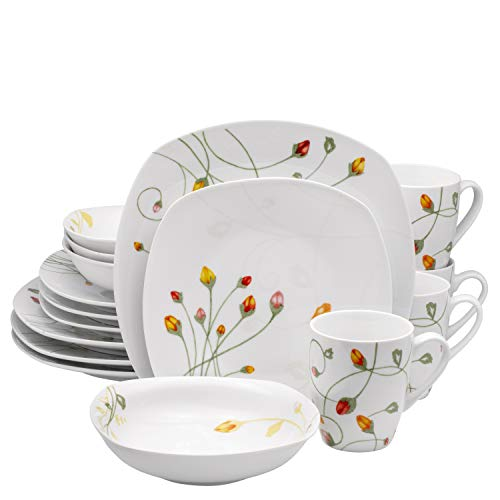16 Piece High-Fire Porcelain Ceramic Dinnerware Set, Service for 4, by Francois et Mimi (Floral White)