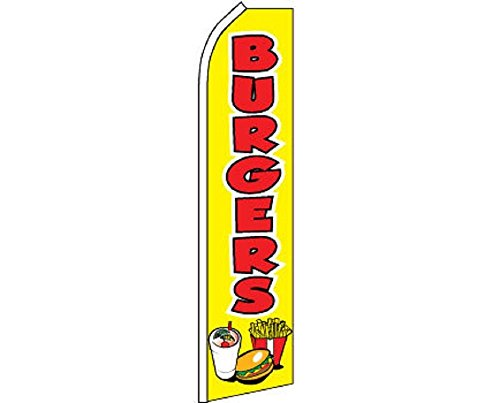 Burgers Red Yellow Swooper Super Feather Advertising Marketing Flag by FlagsImporter