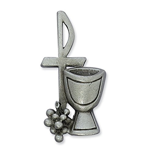 Pin Lapel Chalice - Pewter Chi Rho Cross with Chalice and Grapes 1 1/2-inch Lapel Pin