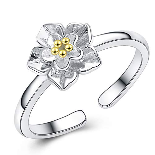 Jacob Alva Daisy Ring for Women 925 Sterling Silver Open Ring Jewelry Her Teenage Girls Flower Ring Hypoallergenic Gold 2 Tone Flower Ring Girlfriend Wife