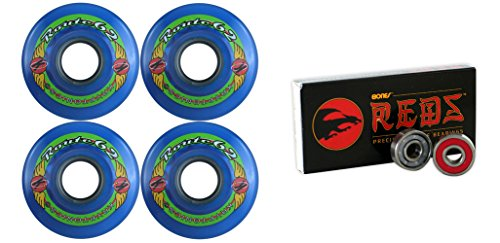78a Blue Wheels - TGM Skateboards KRYPTONICS Route 62MM 78A Blue Longboard Skate Wheels + Bones Reds Bearings