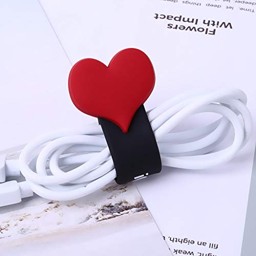 Gotian Snap-On Headset Data Cable Storage Cute Love Section Tidy Up Unsightly Messy Wires and Cables for Home or Office Use Anytime