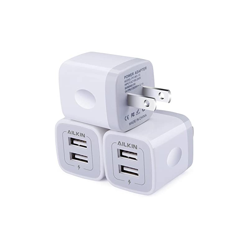 Wall Charger, [3-Pack] 5V/2.1AMP Ailkin