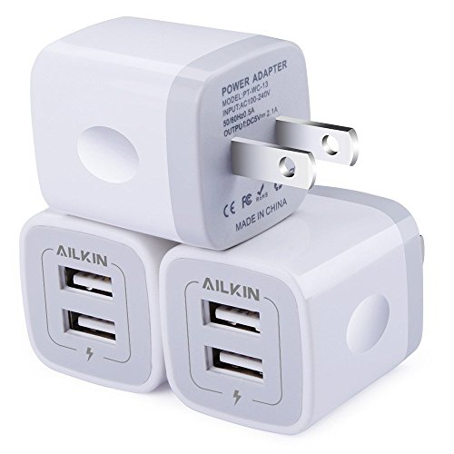 Travel Charger Wall Power Adapter - Wall Charger, [3-Pack] 5V/2.1AMP Ailkin 2-Port USB Wall Charger Home Travel Plug Power Adapter Replacement for iPhone X/8/7/7 Plus, 6s/6s Plus, Samsung Galaxy S7 S6, HTC, LG, Table, Motorola and More