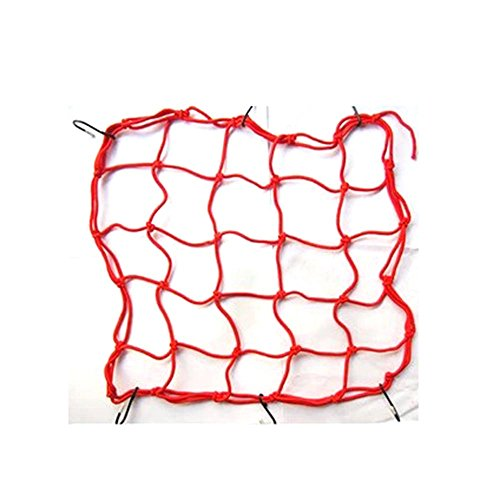 HuntGold 1X Stretch Bicycle Bike MTB Luggage Net Rope Bungee Cargo Net Mesh With Hooks(red)