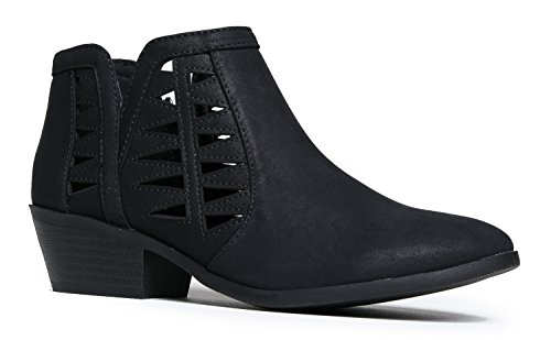 Synthetic Closed Toe-Zipper Closure Mid Heel Ankle Booties - Cabana Dolce