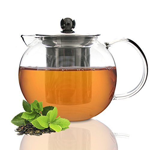Tea Branch Glass Tea Set, Glass Teapot, Tea Infuser, Tea Maker For Loose Tea, Iced Tea, Blooming, Borosilicate Glass, Tea Pot 27 oz, 800 mililiter