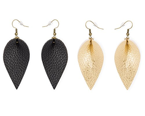 Teardrop Leather Earrings for Women (2-Pack) Faux Leaf Texture, Black and Gold Colors | Trendy, Stylish Dangle Jewelry | Handmade Vintage Look