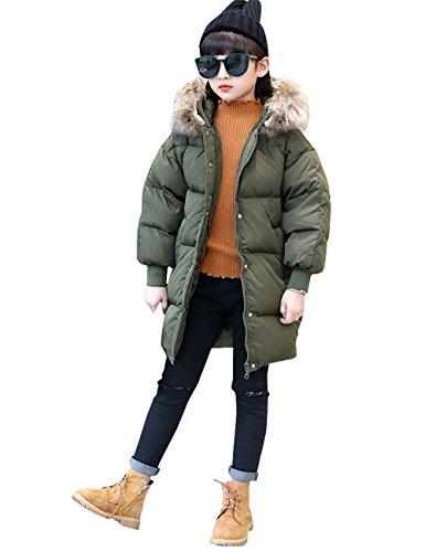 Menschwear Girl's Down Fur Hooded Jacket Winter Warm Outwear Winter Coat (140,Army-Green) by Menschwear