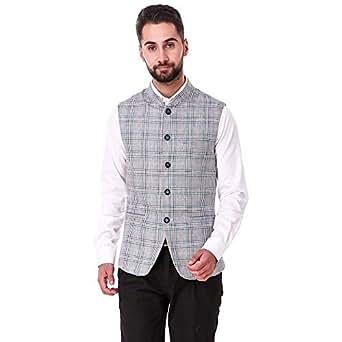 Tzar Smart Fit Nehru Jacket for Men - Grey