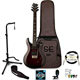 prs se 24 custom - PRS SE Custom 24 Electric Guitar with Accessories, Fire Red Burst
