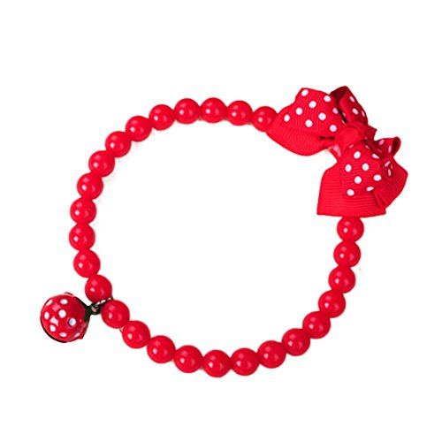 ACTLATI Pets Necklace Stretchy Red Strawberry Bead Linked Bowknot Design Dog Neck Accessories With Bell