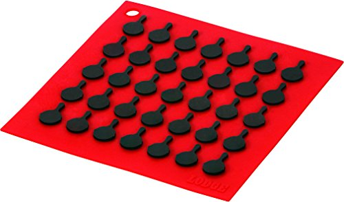Lodge AS7S41 Silicone Square Trivet with Black Logo Skillets, Red, 7 IN IN, ()