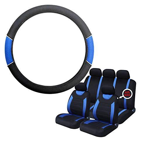 UKB4C Blue & Black Steering Wheel & Seat Cover set for Saab 9-3 93 All Models: