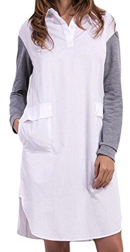 erdbeerloft - Damen Blusen-Kleid seitliche Schlitze Longshirt Hemd, Weiß, XS-XL