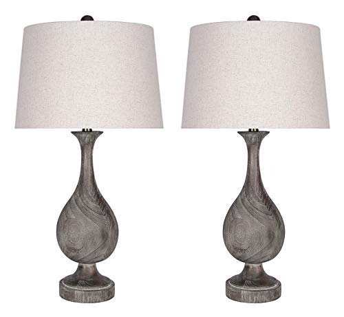 "29"" Grey Washed Faux Wood Polyresin Table Lamp Set with Teardrop Vase-Inspired Design and Oatmeal Linen Tapered Shades - Perfect for Nightstands and End Tables (Set of 2)"