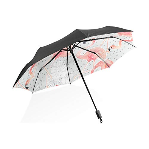 (Umbrella Hawaiian Flower Flamingo Folding Sun Protection Anti-UV Umbrella Windproof Lightweight for Men/Women)