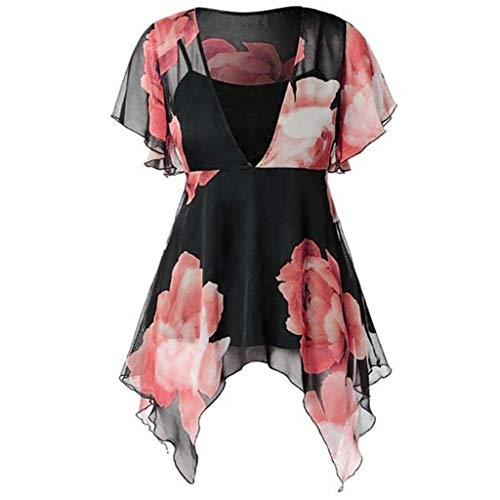 Two Piece Top and Skirt,LYN Star❀ Women's Summer Floral Printed Off The Shoulder Elastic Irregular Hem Beach Mini Dress Red -